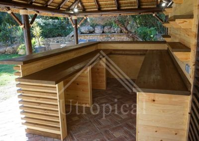 barra de bar de madera diseño para jardín