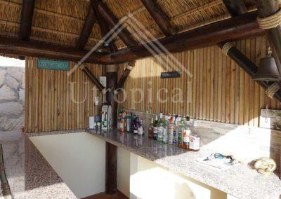Instalación de zona bar en jardín estilo tropical