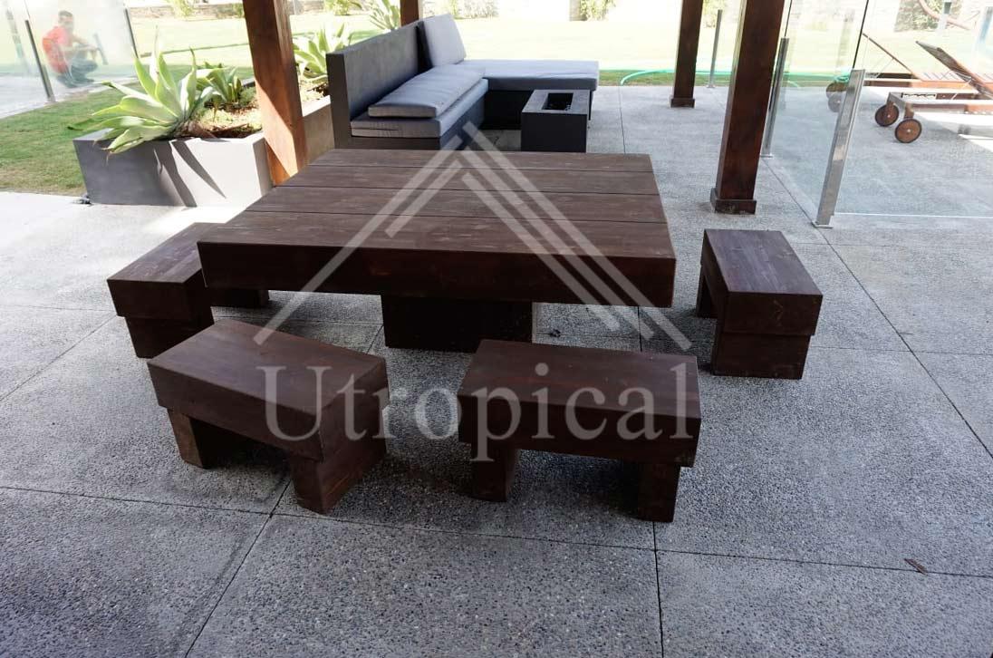 conjunto de mesa exterior madera de pino