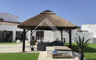 Diseño de cubierta tejado de junco en murcia
